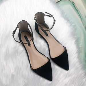 Zara Basic D'Orsay Suede Ankle Strap Flats